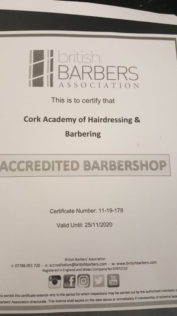 hair and barber council certificate
